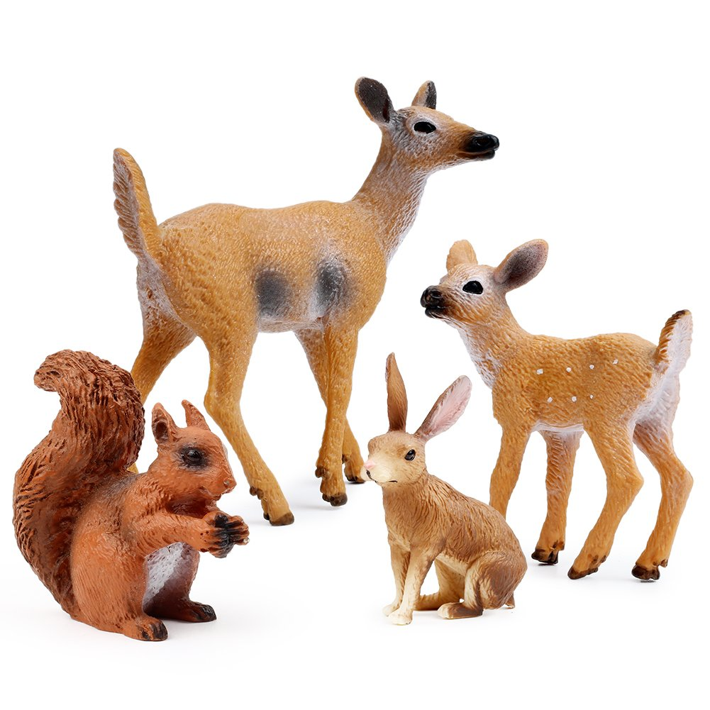Miniature Deer Family Toy Figurines with Forest Animal Babies Set, Includes a Buck, Doe, Fawn, Rabbit, Squirrel and Fox by Uandme (Image #2)
