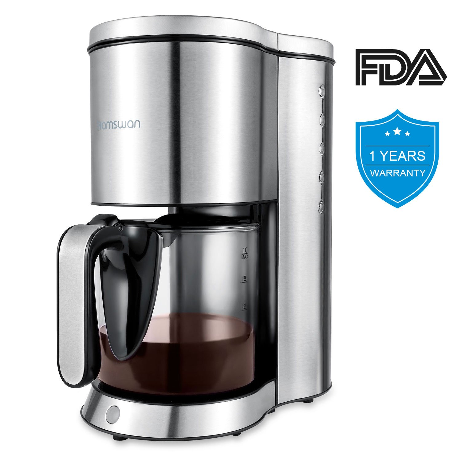 Coffee Maker, HAMSWAN AD-103 Drip Coffee Machine Anti-Drip Device Auto-Thermal 10-Cup Carafe for Home & Office Use by HAMSWAN
