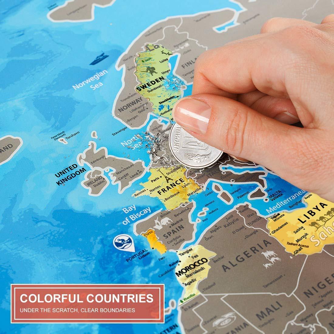 Id/ée Cadeau pour Voyageur Carte du Monde /à Gratter Detaillee Discovery Map Scratch Off World Travel Map Poster De Voyage XXL Mappemonde a Gratter Murale Grande Deluxe 88 x 62 cm