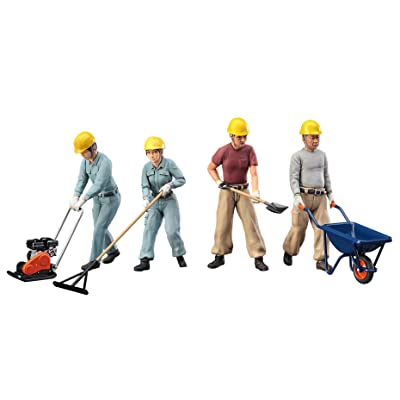 Hasegawa WM03 Construction Workers Set A (Road Paving Workers 4 set & accessories) 1/35 scale kit: Toys & Games