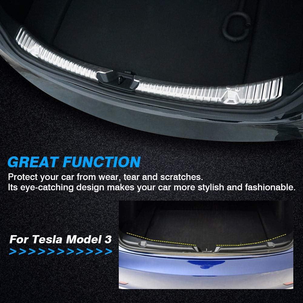 Model 3 Protector de maletero trasero delantero del autom/óvil protector de parachoques trasero de acero inoxidable con aspecto de fibra de carbono interior paquete de 3 inserto de borde cromado
