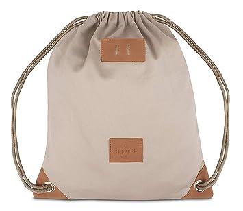 2d6cb5625ed49 Skipper Turnbeutel Hipster Bag - Rucksack aus Baumwolle Canvas für Damen  und Herren - Beige