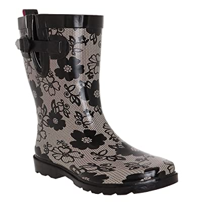 Capelli New York Ladies Shiny Blossom Lace Printed Rubber Rain Boot