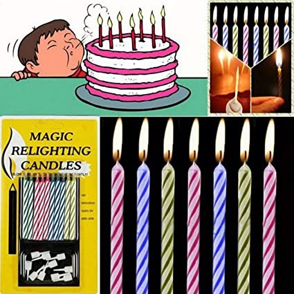 Amazon Idomeo 10pcs Magic Relighting Candles Birthday Cake Party Trick Joke W Holder Home Kitchen