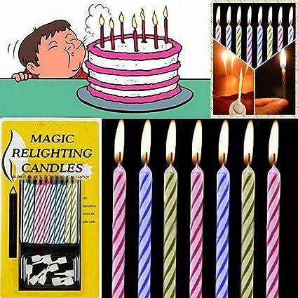 Idomeo 10pcs Magic Relighting Candles Birthday Cake Party Trick Joke W Holder