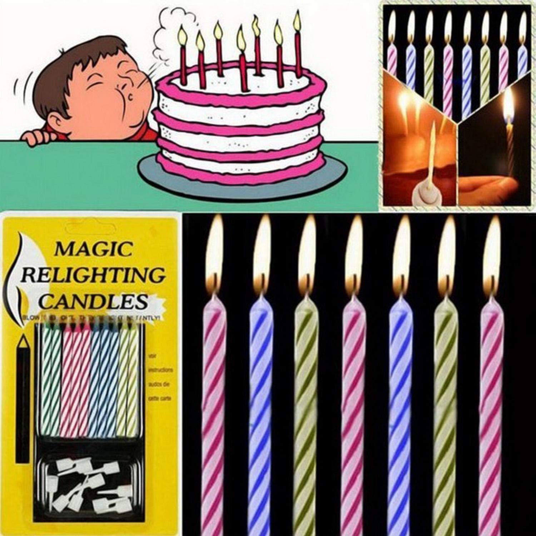 erholi 10pcs Magic Relighting Candles Birthday Cake Candles Party Trick Joke Holder Candles