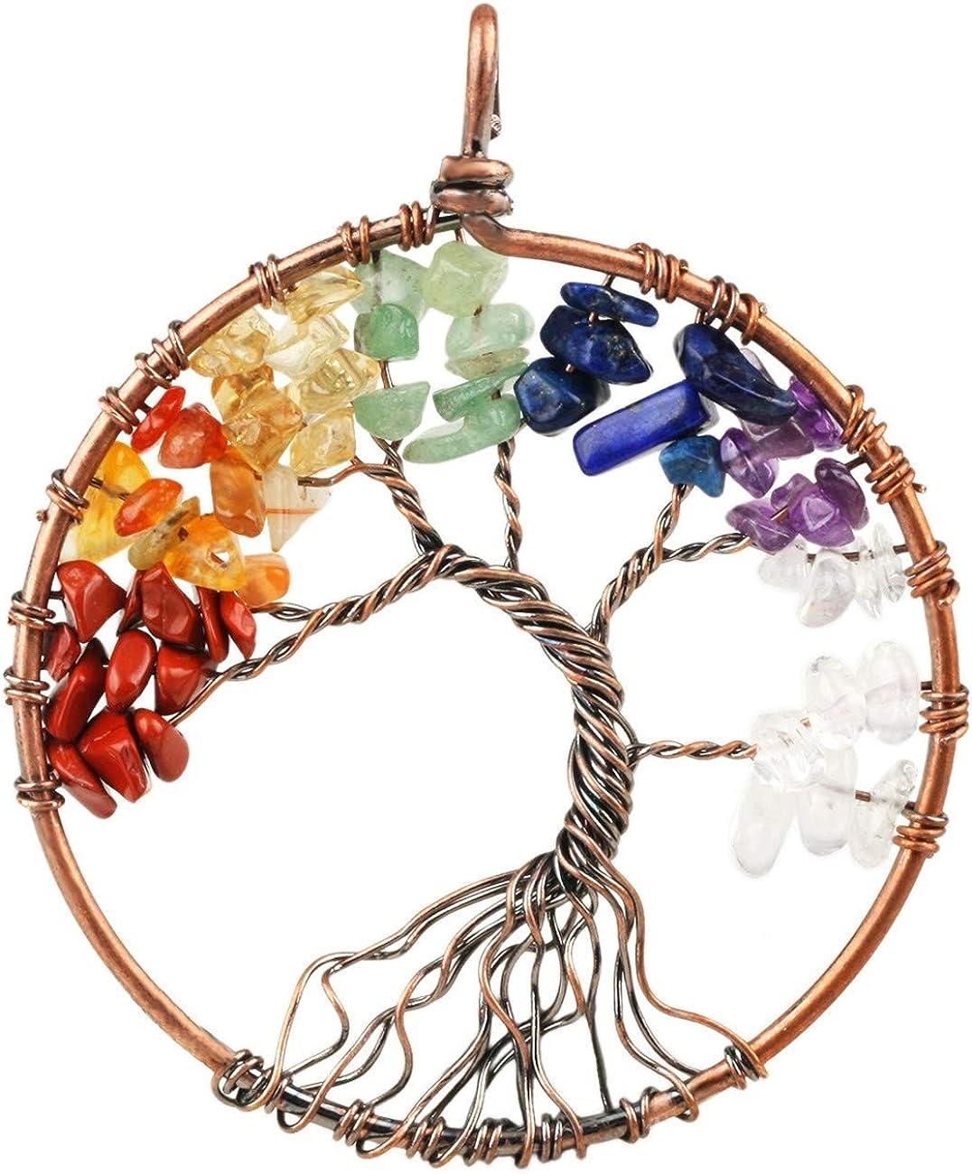 Crystal Rainbow Pendant Necklace 7 Chakras Gemstone Chips Antique Bronze Wire Wrap