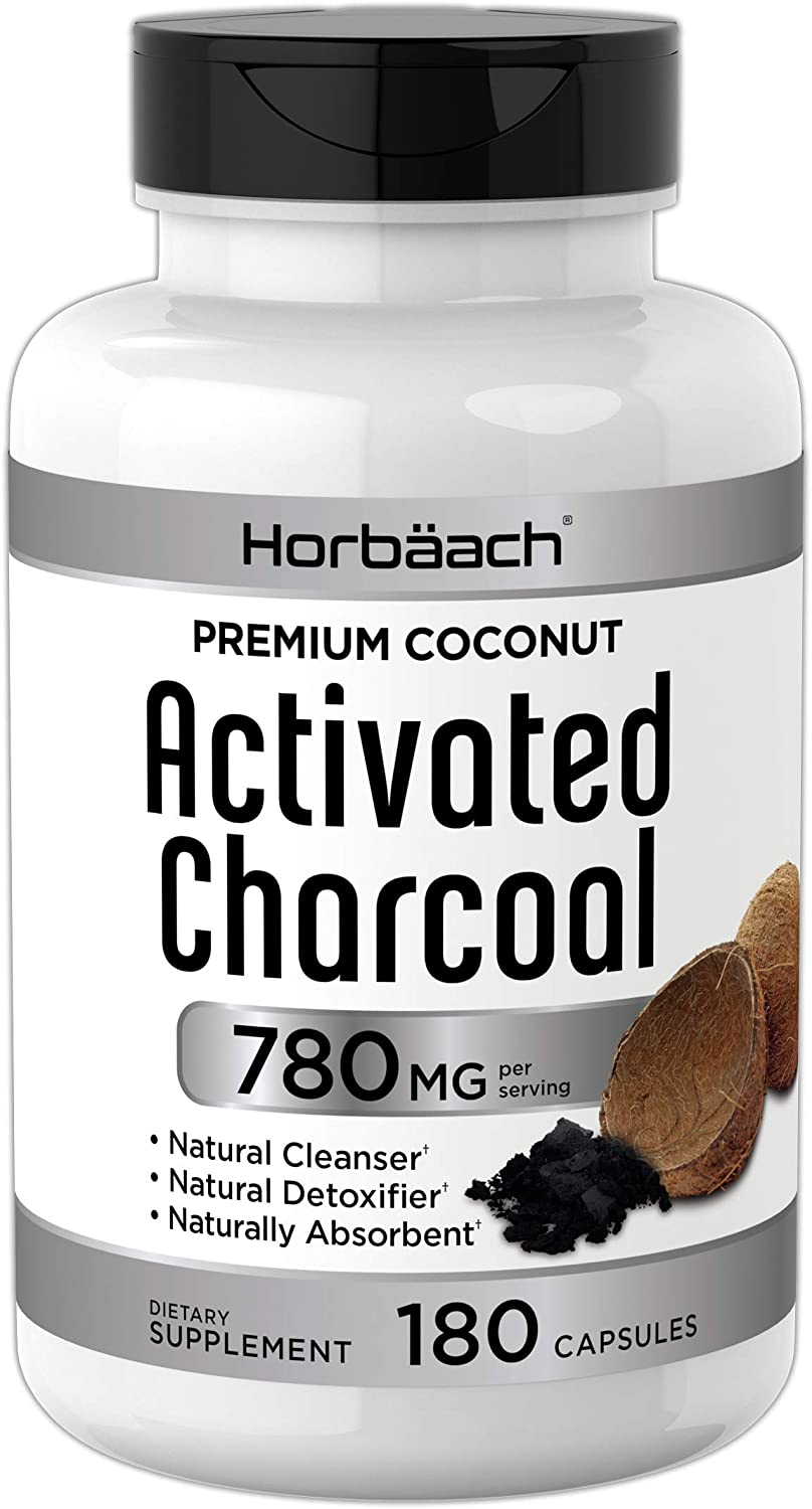 Horbaach Activated Charcoal 180 Capsules | from Coconut Shells | Non-GMO and Gluten Free Pills | Helps Bloating and Digestion: Health & Personal Care
