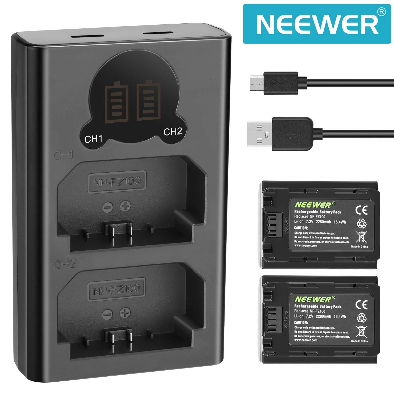 2x NP-FZ100 Battery Dual Cargador de batería digital para Sony A9 A7RIII A7III
