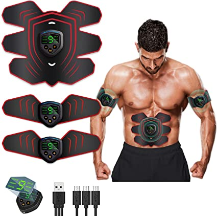Amazon Com Matehom Abs Stimulator Ab Machine Rechargeable Ems Abdominal Trainers With 6 Modes 10 Levels Muscle Toner Workout Exercise Equipment For Men Women Health Personal Care