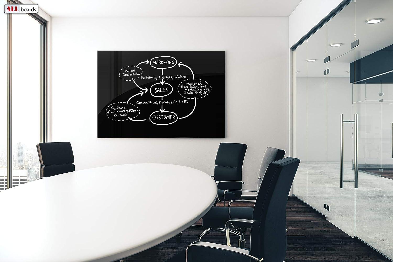 Design Moderno ed Elegante Scrivibile e Facilmente Cancellabile ALLboards Lavagna in Vetro Magnetica Nera Diverse Dimensioni