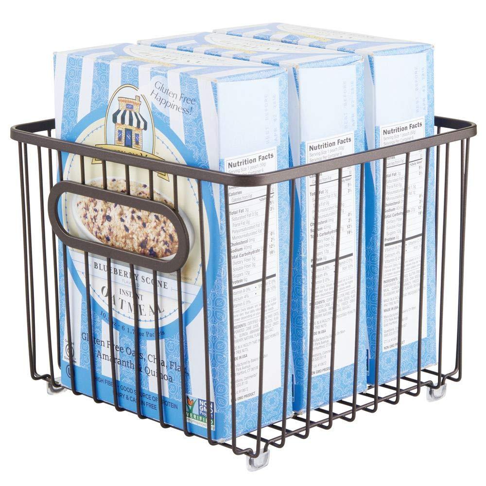 Vers/átil cesta de metal multiusos para cocina o despensa color bronce Organizadores de cocina compactos y universales con asas mDesign Cesto de alambre de metal