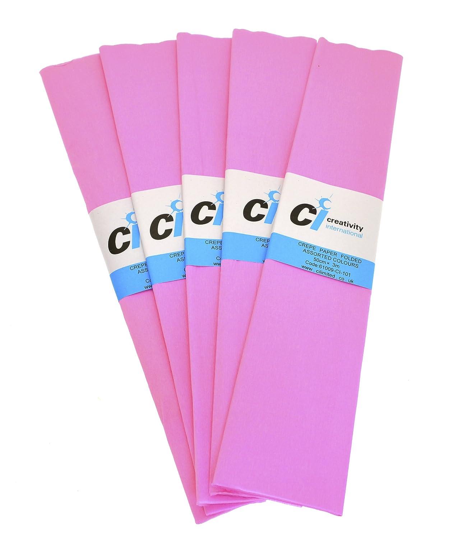 CI Tissue - Confezione da 10 fogli di carta crespa, 50 cm x 3 m, colore: Rosa 6126-3