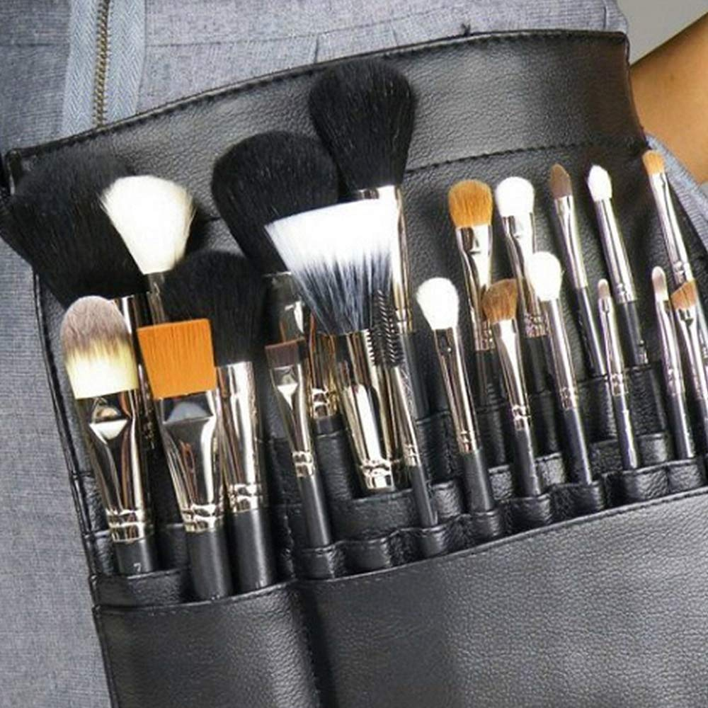 22 Pockets Professional Cosmetic Makeup Brush Bag with Artist Belt Strap