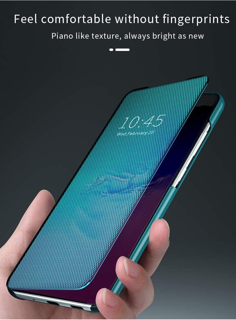 Blau Kompatibel mit Samsung Galaxy A40 H/ülle Neueste PC PU Leder Clear View Mirror Cover Flip Spiegel Schutzh/ülle Sch/öne Perfekt Case Speziell Design fit Galaxy A40 Handyh/ülle