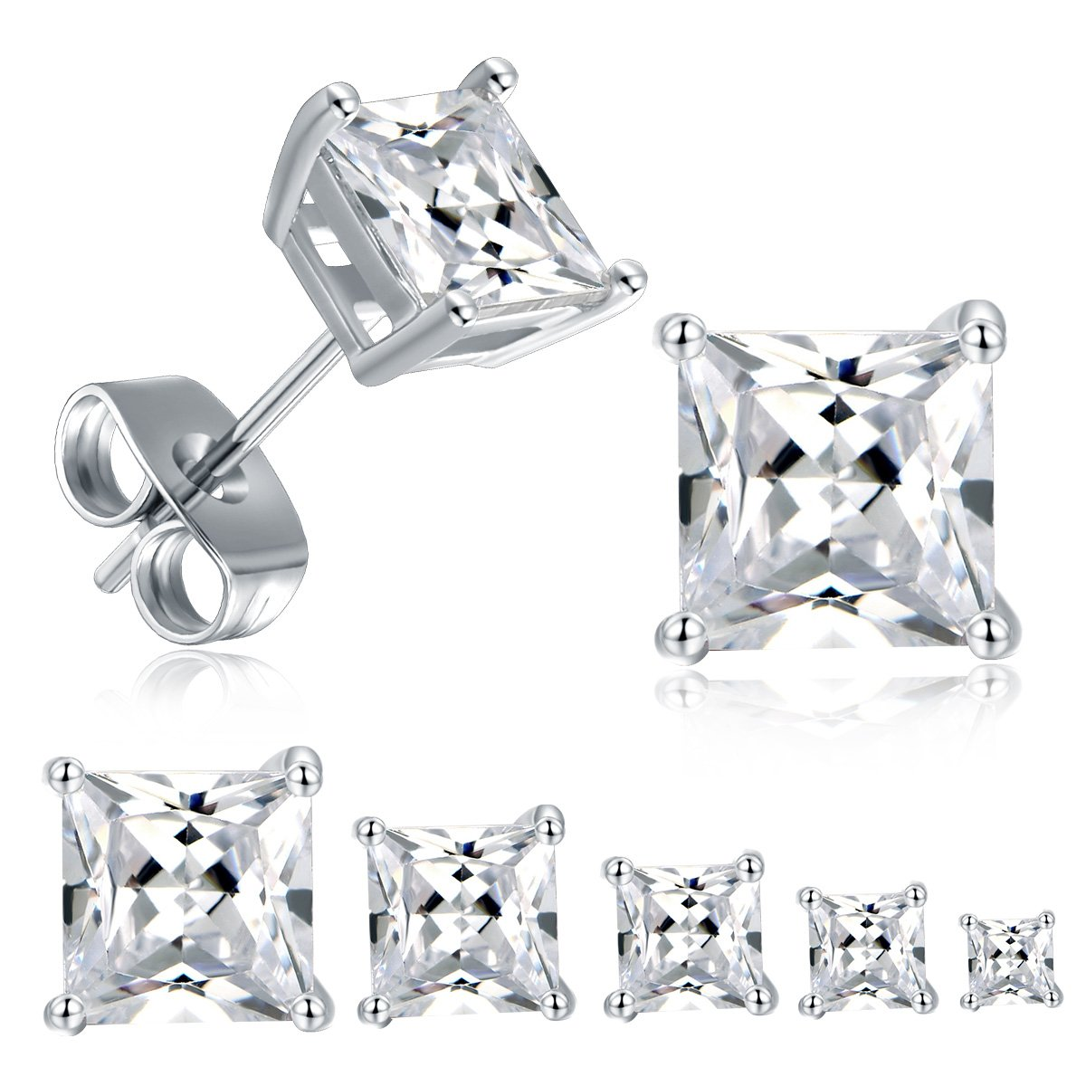 18K White Gold Plated Princess Cut Cubic Zirconia Stud Earrings Pack of 5 GEMSME E-880552