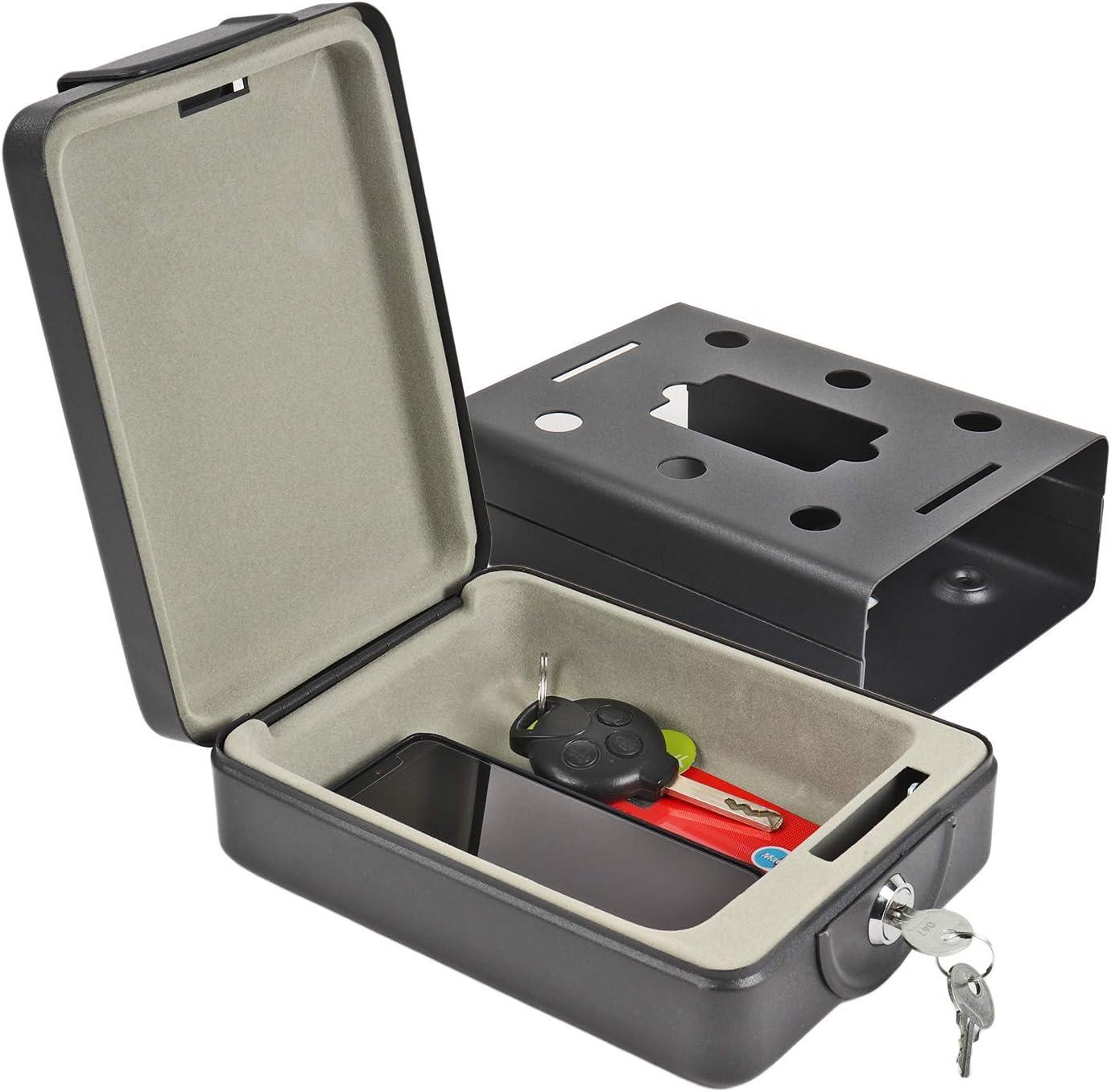 Caja portátil de alta seguridad con llave de ProPlus. 15 x 21 x 5,5 cm. Caja de caudales, caja fuerte negra para caravana y autocaravana.: Amazon.es: Bricolaje y herramientas