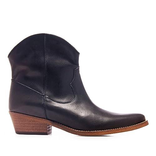 Eva López Botin Cowboy Piel Negro Mujer: Amazon.es: Zapatos y complementos