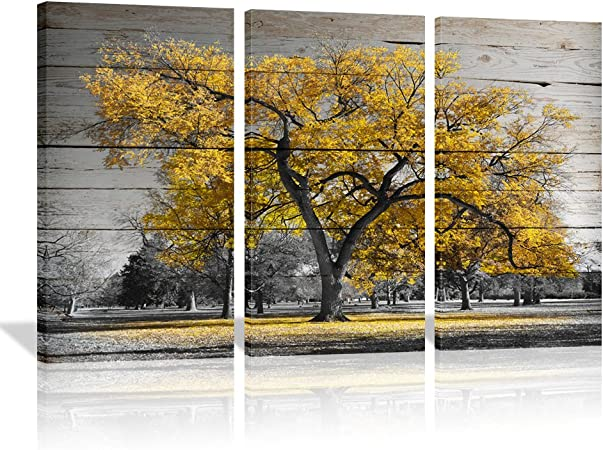 Amazon Com 3 Piece Black And Red Tree Canvas Art Prints Autumn Fall Maple Forest With Leaves Picture Painting Home Decor For Living Room 16 X32 X3 Yellow Maple Posters Prints