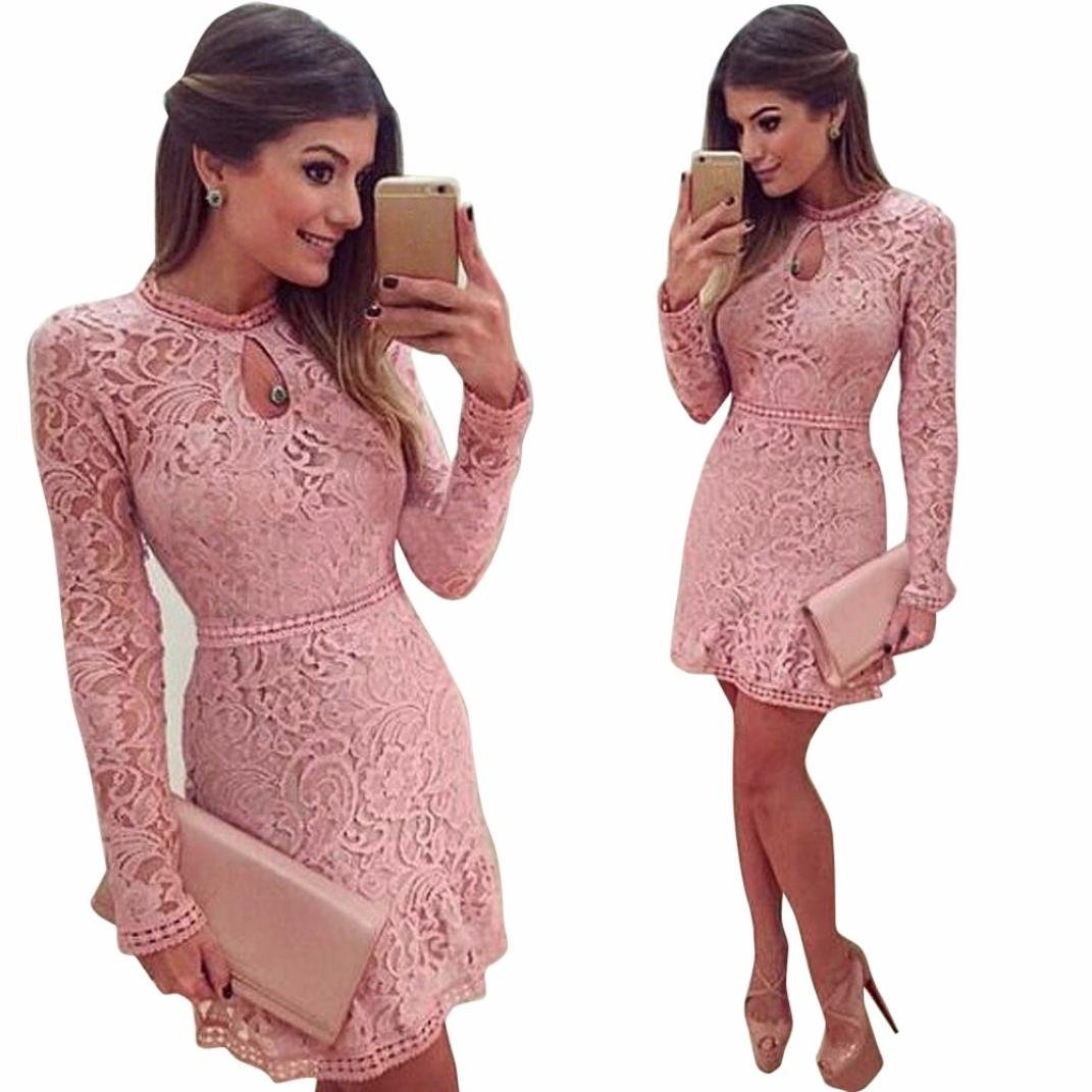 Amazon.com  Pengy Women Sexy Pink Hollow Lace Long Sleeve Slim Dress Party  Evening Dress Casual Dresses For Women Maxi Dresses For Women  Clothing f7dc3ab57