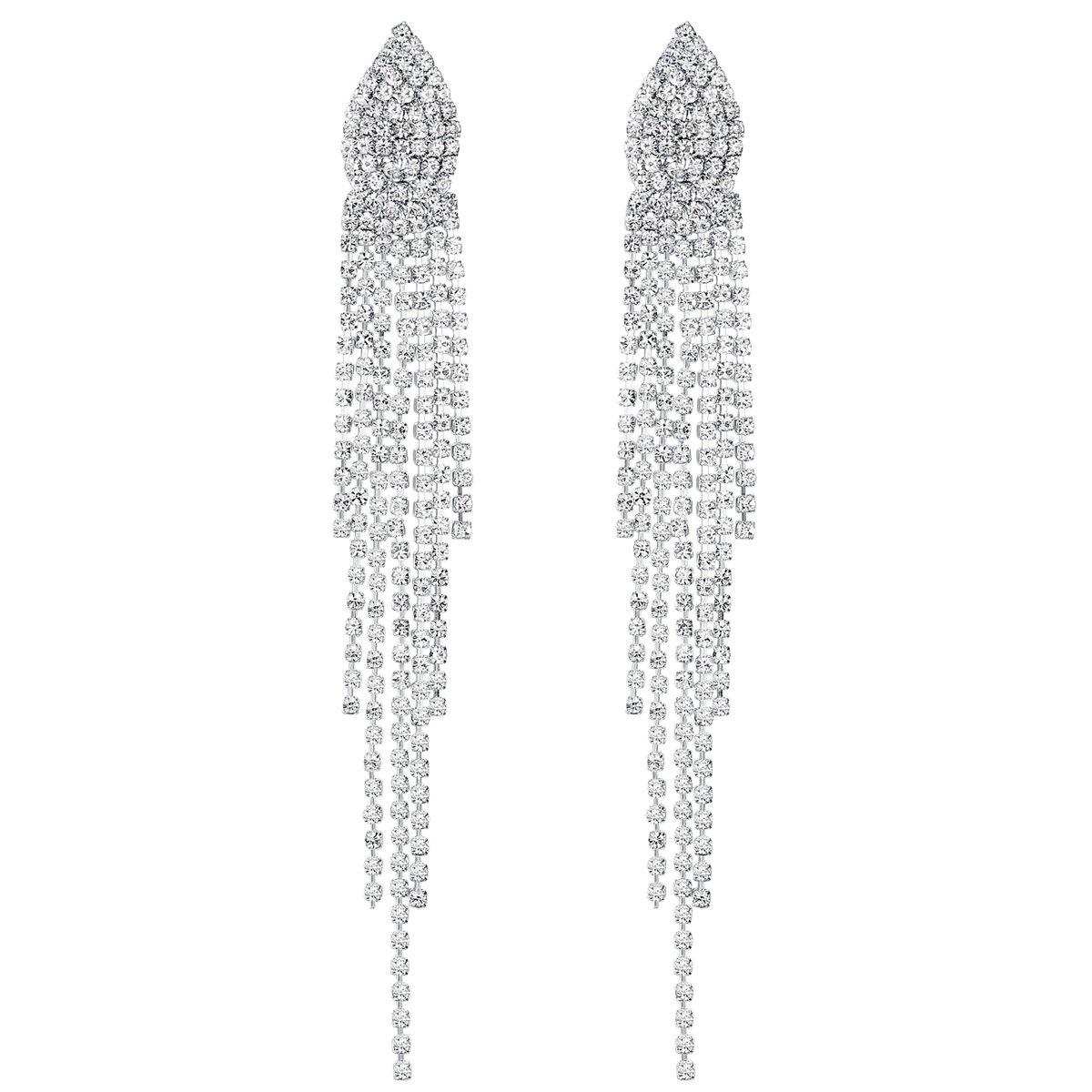 mecresh Bridal SilverCrystal Tassel Wedding Earrings for women