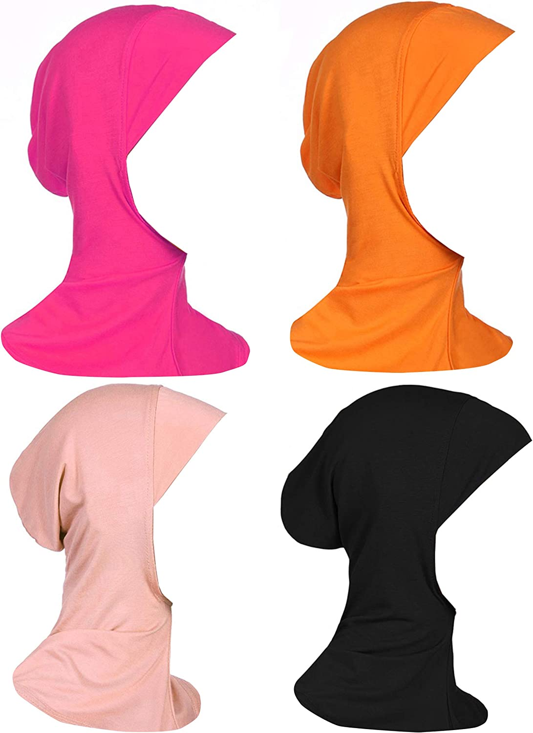 GladThink Womens Muslim Mini Hijab Caps Islamic Scarf 4 Pieces