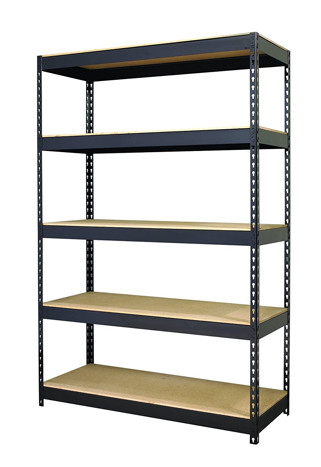 amazoncom hirsh industries office dimensions riveted steel shelving 5 shelf unit 48 w x 18 d x 72 h black kitchen dining - Industrial Metal Shelving