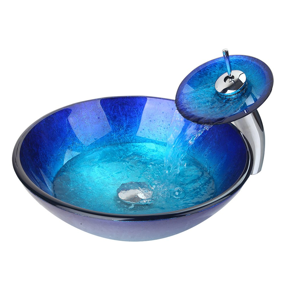 WEIXINTECH Bathroom Basin Sink Faucet Blue Washbasin MixerTempered ...