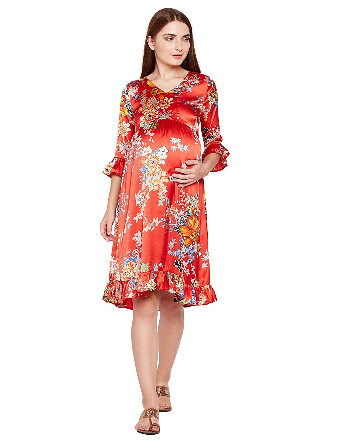 b46ec0bc8df oxolloxo Women V Neck Red Floral Maternity Maxi Dress (3 4th Sleeves)   Amazon.in  Clothing   Accessories