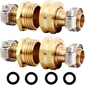 "YELUN Solid Brass Hose Repair Connector with Stainless Steel Clamps,Fit for 3/4"" Garden Hose Fitting,Male and Female Hose Fittings (3/4""-2 Set)"