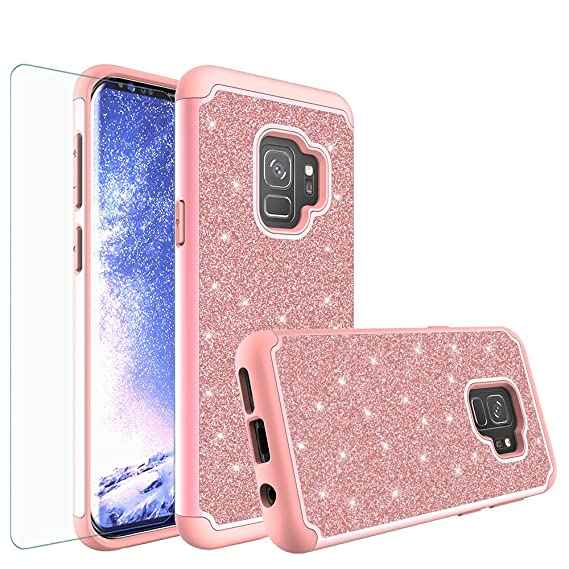 new style e0d37 ad7fd [GW USA] Galaxy S9 Plus Case, Samsung Galaxy S9 Plus / S9+ Case, Bling  Glitter Hybrid Case with [HD Screen Protector] Dual Layer Protective Phone  Case ...