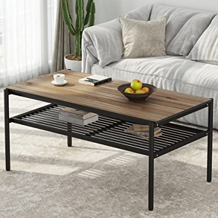 Amazoncom Rustic Industrial Coffee Table LITTLE TREE 48 Large