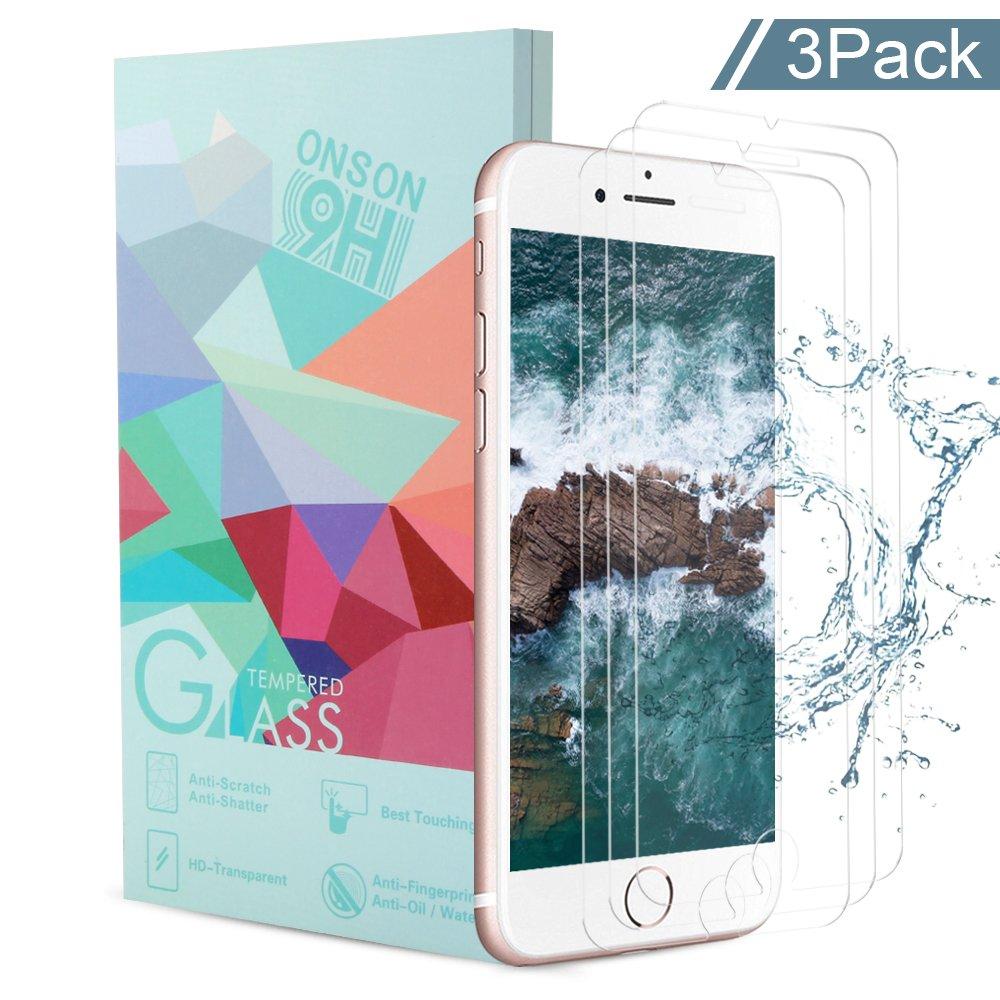 [3-Unidades] Protector de Pantalla iPhone 7/ 8 / 6s / 6, ONSON Cristal Vidrio Templado Premium Para Apple iPhone 7 / 8 / iPhone 6s / iPhone 6 [9H Dureza][Alta Definicion 0.33mm] [3D Touch Compatibles