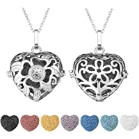 JOVIVI 2pcs Essential Oil Lava Rock Diffuser Necklace Silver Plated Love Heart Aromatherapy Locket Pendant with 7 Colours Lava Stone Beads