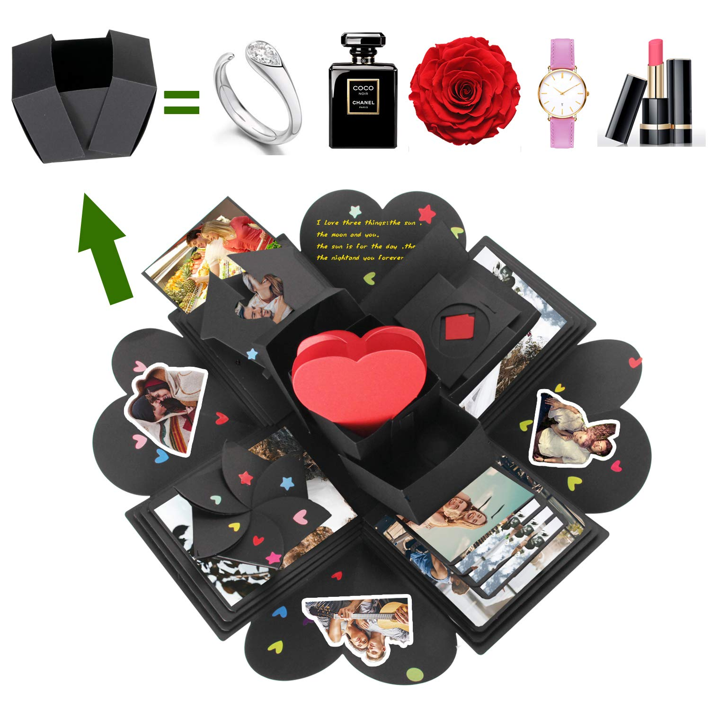Husband POZEAN Explosion Gift Box DIY Photo Album Exploding Picture Box 6 Face for Birthday Wedding Wife Anniversary Engagement Explosion Box Mom Dad Boyfriend Valentine/'s Day