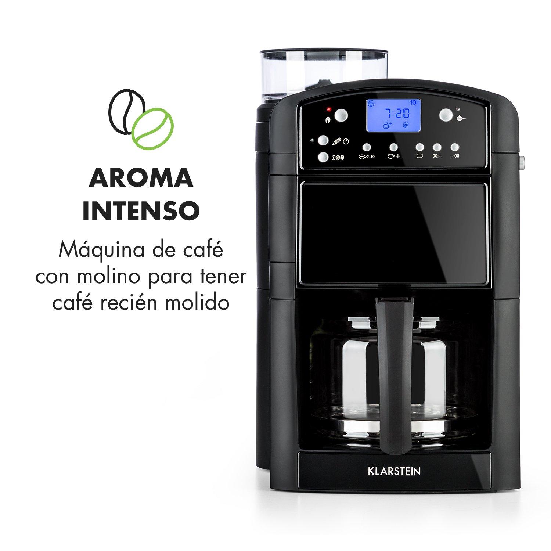 Klarstein Aromatica Máquina de café • Máquina con filtro • Filtro de carbono • Antigoteo • 3 aromas: suave, medio e intenso • Temporizador 24h • 10 tazas ...