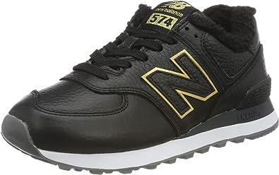 New Balance - Camiseta baja para mujer, color negro y dorado
