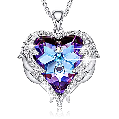 5af80668b Amazon.com: CDE Angel Wing Pendant Necklace White Gold Plated Women Jewelry  Heart of Ocean Made with Swarovski Crystals Necklaces for Women: Jewelry