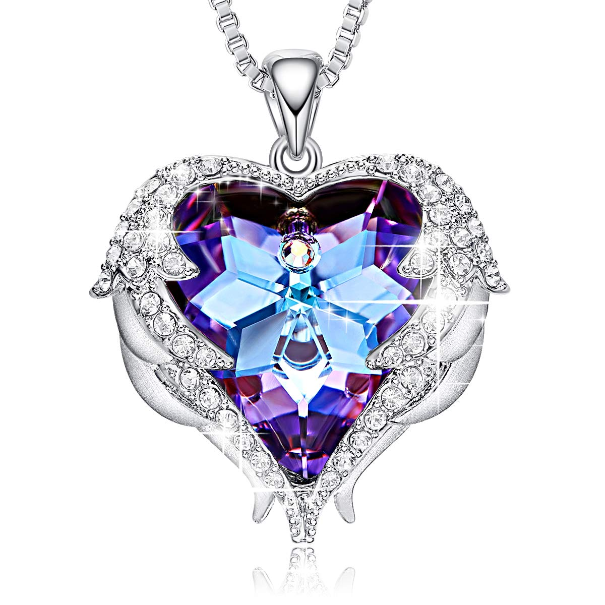 CDE Women's Necklace, Swarovski Heart Crystal Silver Pendants Heart of Ocean Necklaces Fashion Jewelry Gifts for Women Girls Mom