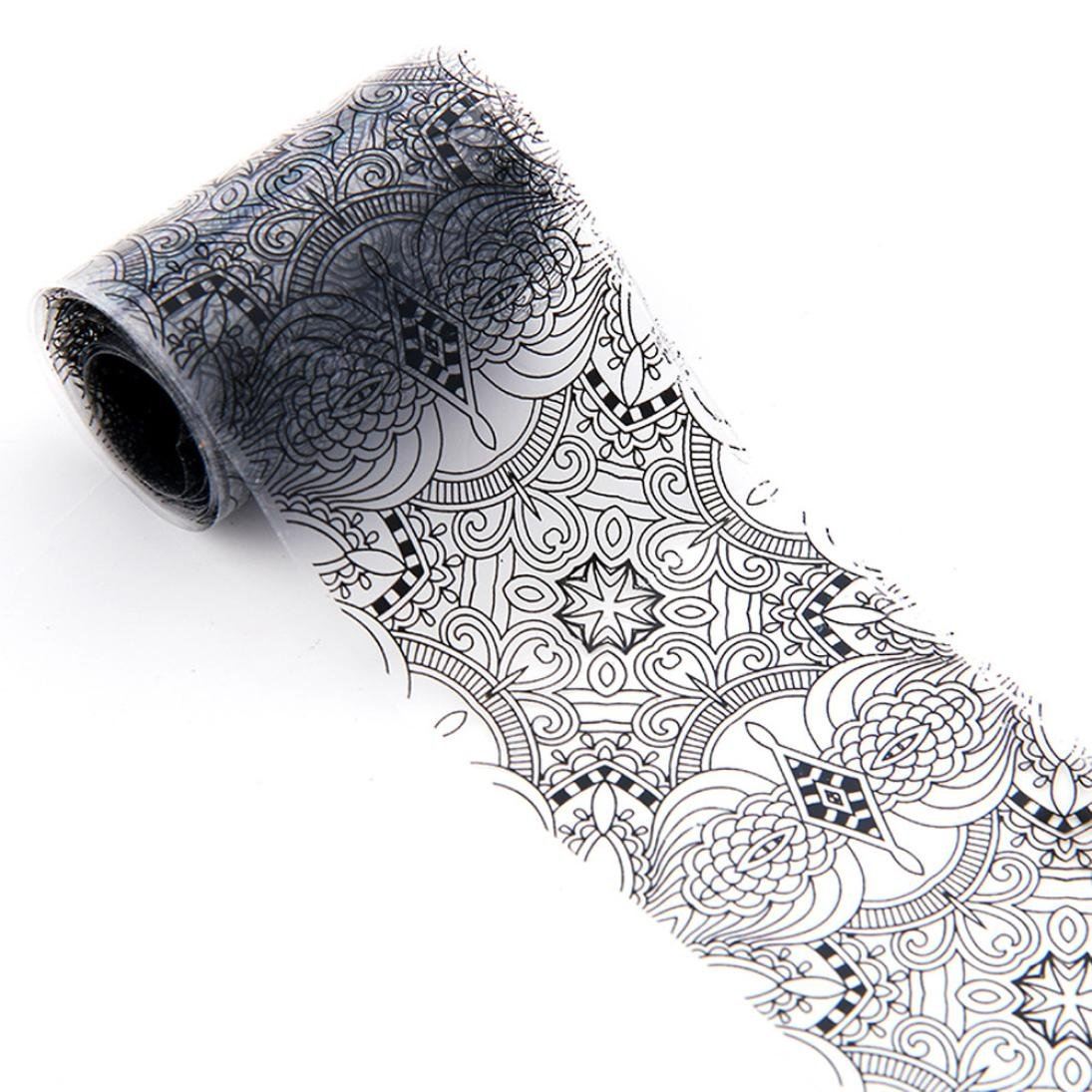 Hot Sale! Quistal 1Roll 4x100 CM Black Lace Starry Sky Design Star Nail Art Foil Stickers Transfer Decal Tips Manicure (F)