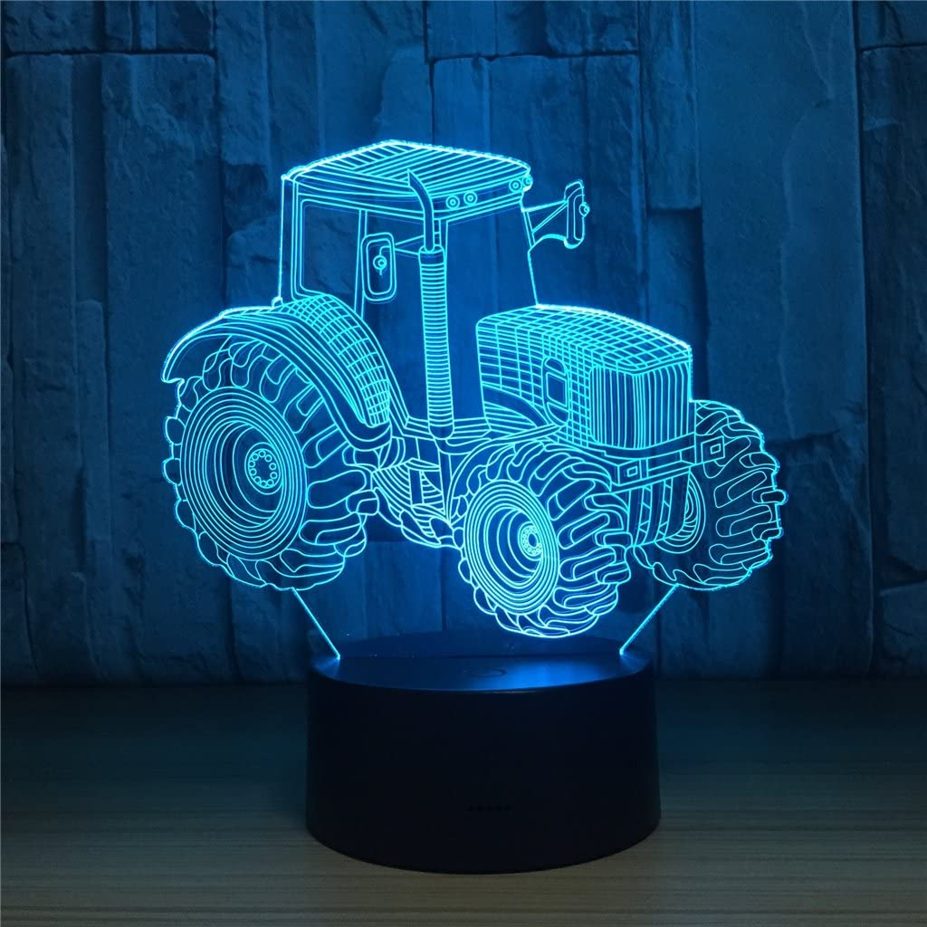 Tractor 3D Illusion Lamp Birthday Gift Night Light Kids Beside Table Lamp,FULLOSUN 16 Colors Auto Changing Touch Switch Desk Decoration Lamps Mothers Day Christmas Gift