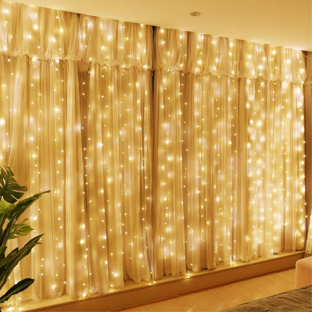 300 LED Curtain Fairy Lights String USB Window Backdrop Wedding Party Xmas Decor