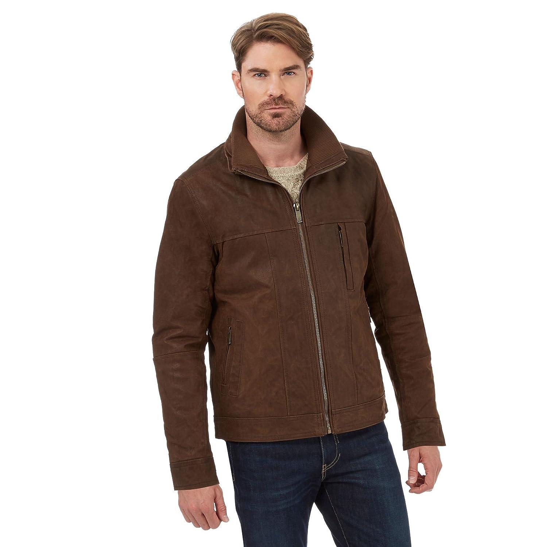 Barneys Mens Brown Leather Harrington Jacket