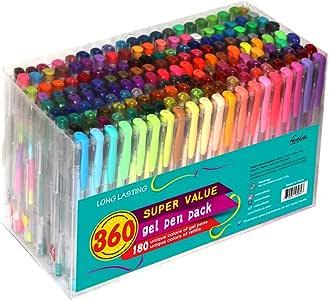 Feela - Juego de bolígrafos de gel de 360 colores, 180 bolígrafos de gel únicos y 180 recambios para libros de colorear para adultos: Amazon.es: Oficina y papelería