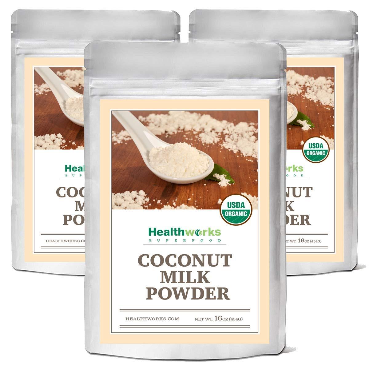 Healthworks Coconut Milk Powder (48 Oz / 3 lb) (3 x 1 lb Bags) | Certified Organic | All-Natural, Creamy, Dairy-Free, Soy-Free, Paleo Diet, Vegan & Non-GMO