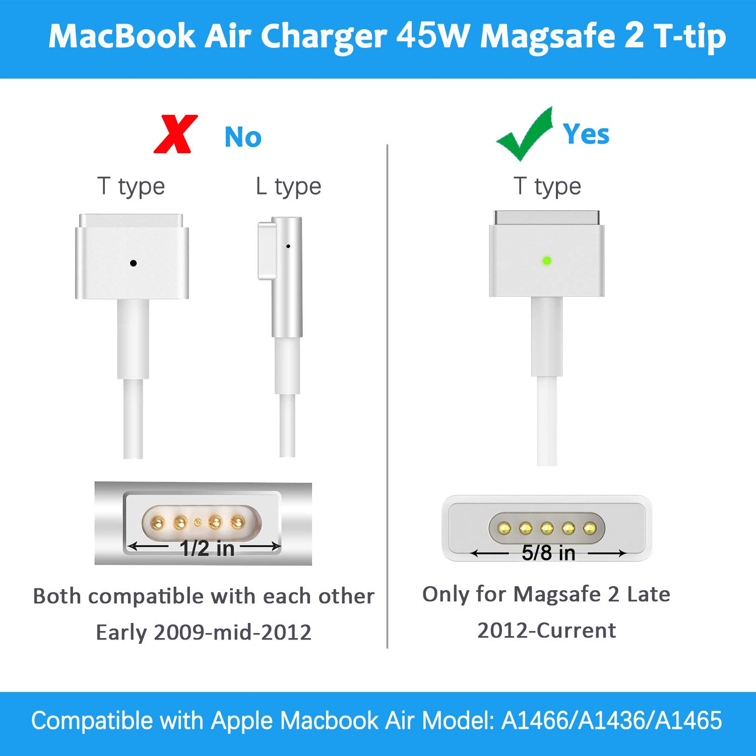 T tip for Mac Book Air A1466//A1465//A1436 Portable Laptop Charger 45W Mag Safe 2 Adapter 14.85V 3.05A Mac Book Air 11 inch /& 13 inch Replacement Mac Book Air Charger After 2012