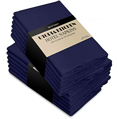 Utopia Kitchen Cloth Napkins (18 inches x 18 inches) - 12 Pack Soft and Comfortable Cotton Dinner Napkins