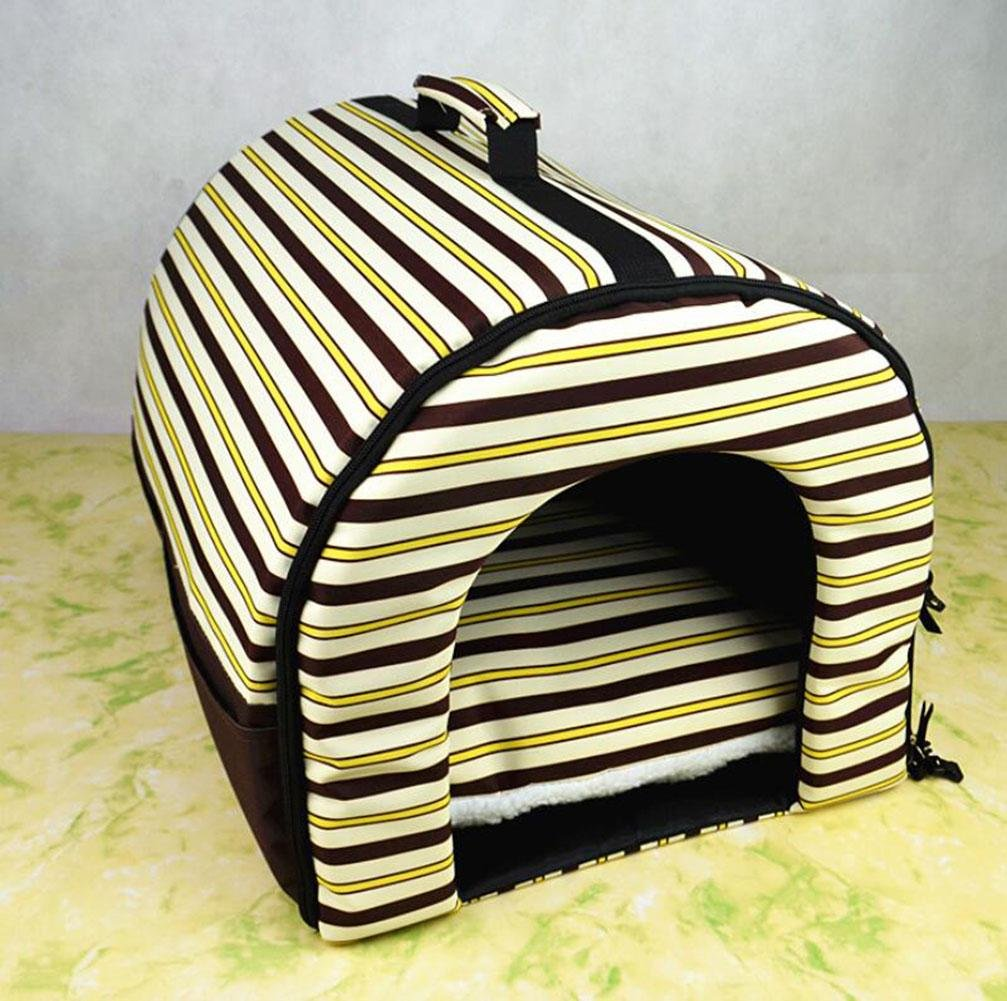 S-BLACKSTRIPES CHWWO 2 In 1 Pet House and Bed,Non-slip Foldable Soft Warm Dog Cat Puppy Rabbit Pet Cave Nest with Removable Cushion Detachable Mattress