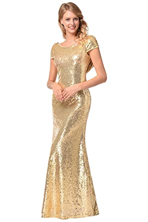 Joyplay Women Mermaid Fancy Dress Halloween Mermaid Costume Women Long Golden Backless Sequins Mermaid Dress Bling