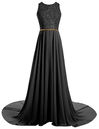 Gardenwed Long Beaded Lace Prom Dress Key Hole Back Prom Dresses Long Party Dress Black Size